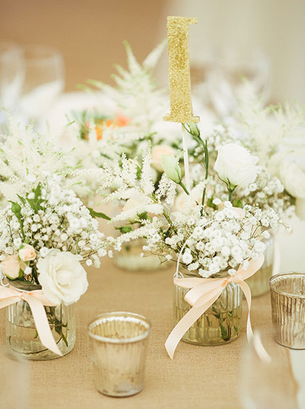 wedding favour and table number