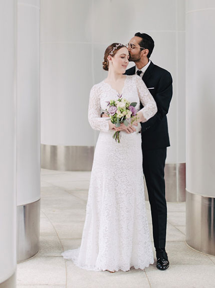 photo of bride and groom hugging
