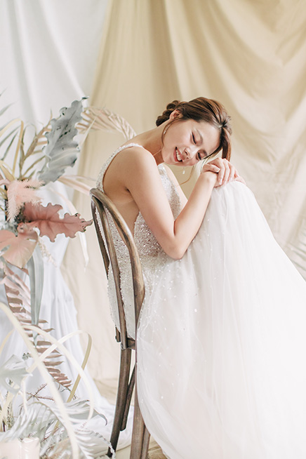 bride smiles during big day