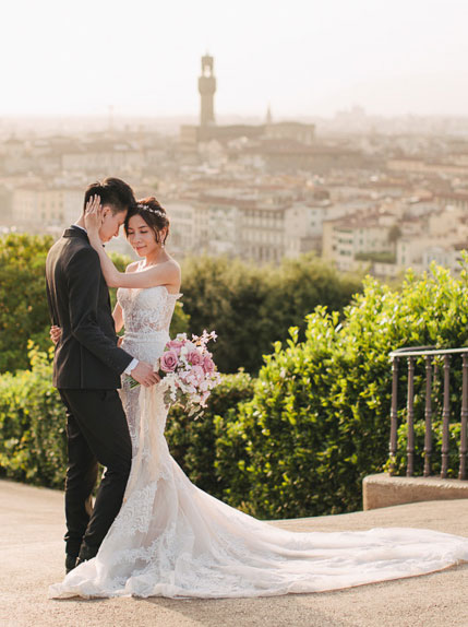bride and groom posing with cityscape back drop