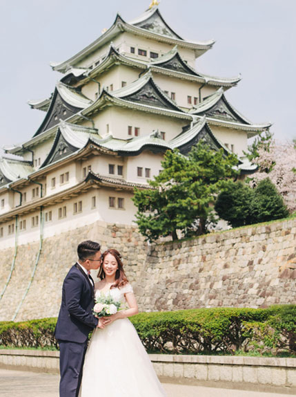 couple posing infront japanese building