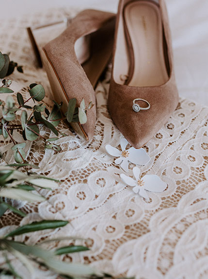 wedding shoes and wedding ring
