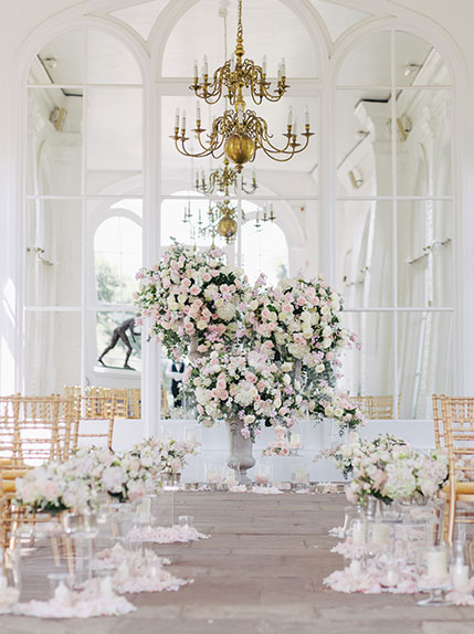 wedding ceremony aisle with bouquet