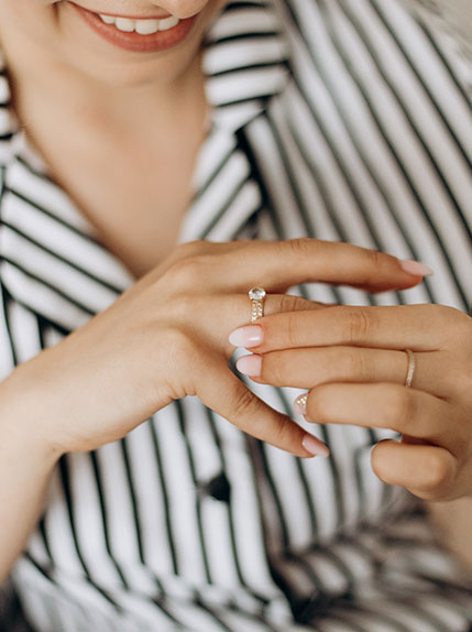 bride puts on wedding ring