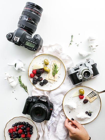 cameras on a table