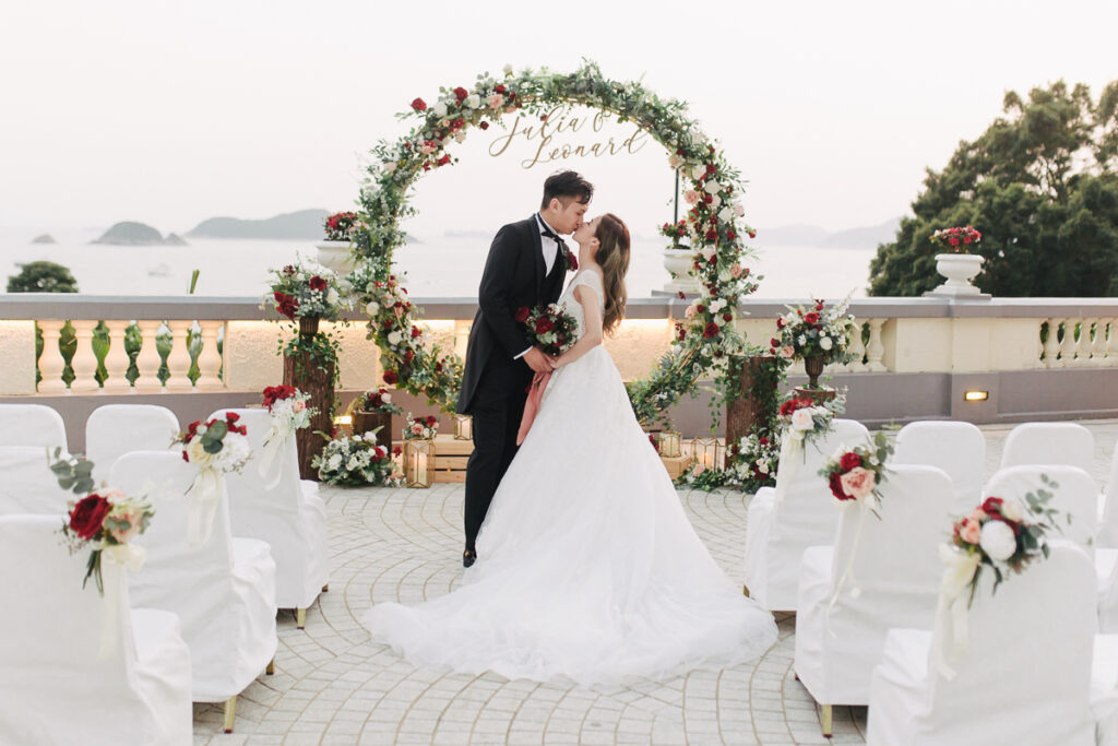 couple posing during their wedding ceremony