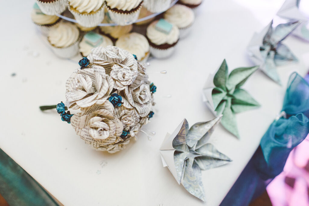 alternative wedding bouquet made out of a book