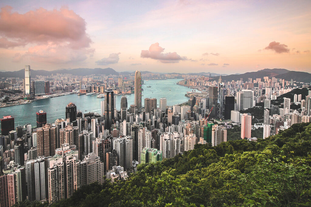 aerial view of hong kong with skyscrapers in background