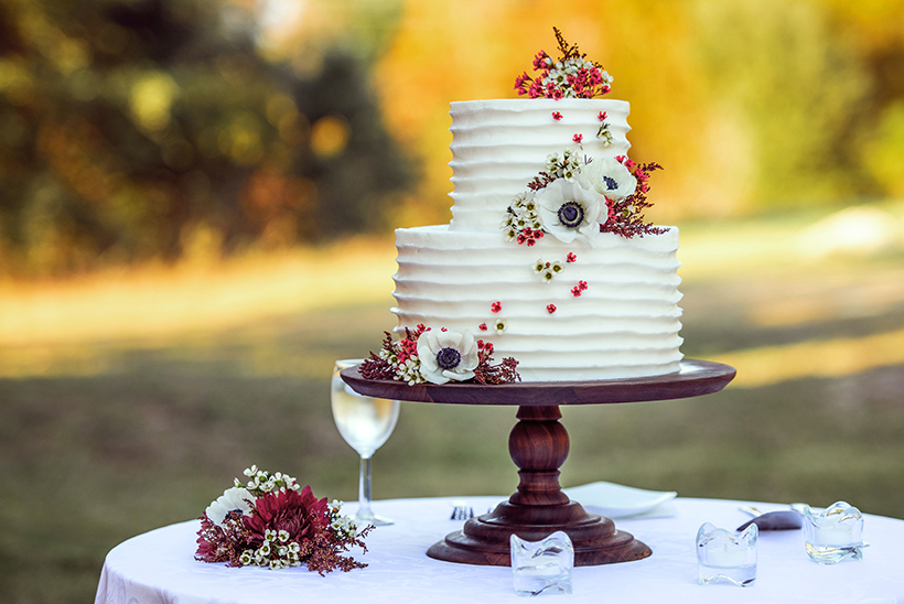 wedding cake on table during wedding day